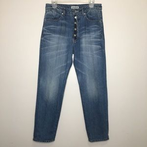 Acne Jeans Raw Button Fly High Rise Mom 25 29